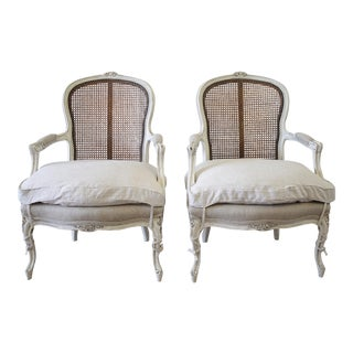 20th Century Louis XV Style Painted Cane Back Chairs - a Pair For Sale