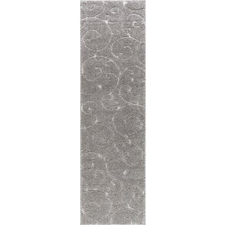 "Berkshire Shag Scrollwork Gray Transitional Runner - 2'3"" x 10'"
