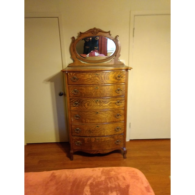 Brown 20th Century Traditional Restored Tiger Oak Highboy For Sale - Image 8 of 9