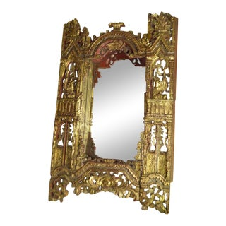 1040s Asian Ornately Hand Carved Gilt Bali Hindu Wood Mirror For Sale