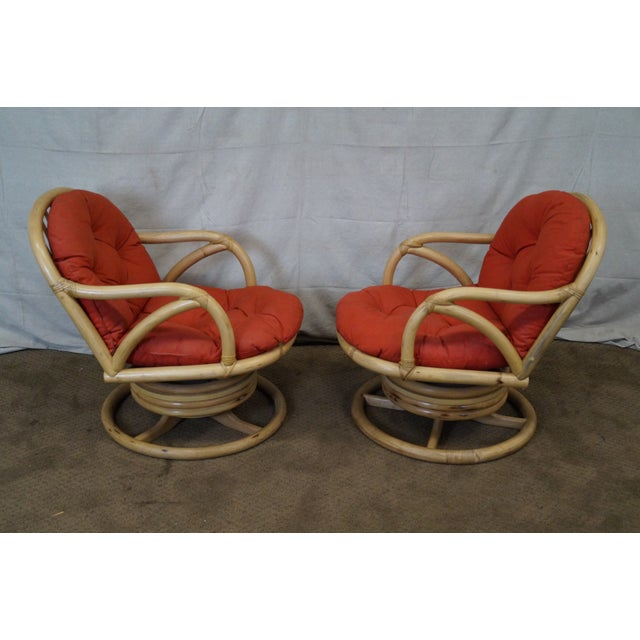 Clark Casual Bamboo Swivel Lounge Chairs - Pair - Image 3 of 10