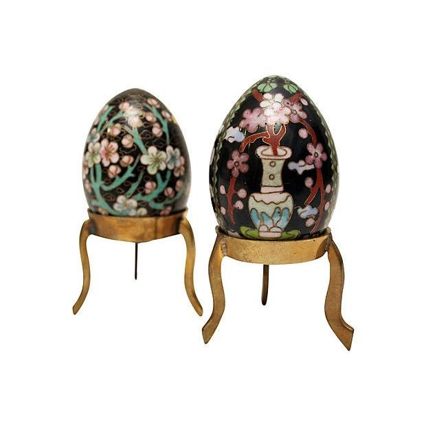 Cloisonne Eggs on Brass Display Stands - A Pair - Image 1 of 6