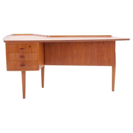 1950s Danish Modern Arne Vodder Teak Desk With Built in Bar For Sale