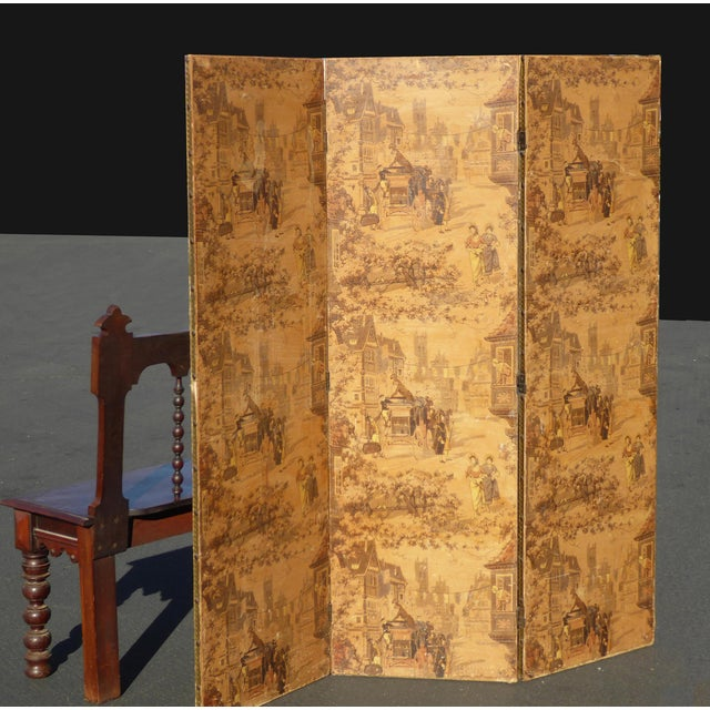 Vintage French Country Yellow 3 Panel Folding Screen - Image 4 of 11