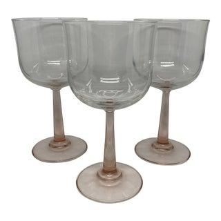 Blush Stemmed Wine Glass Goblets- Set of 3 For Sale