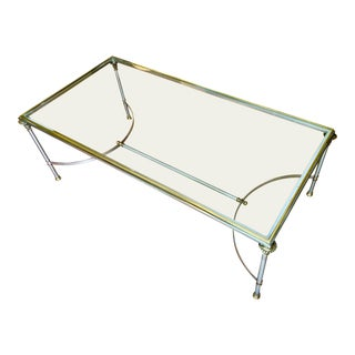 1970s Hollywood Regency Brass and Steel Coffee Table For Sale