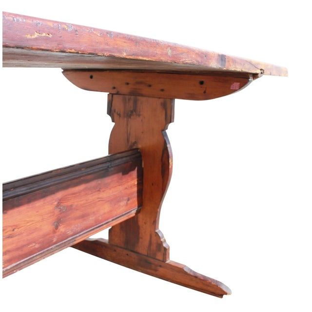 Pine Antique Country Pine Farm Table For Sale - Image 7 of 13