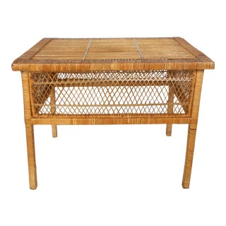 "Boho Chic Rattan / Wicker ""Peacock Chair"" Table For Sale"