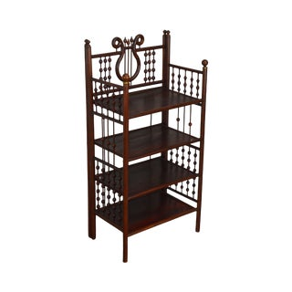 Antique Victorian Stick & Ball 4 Tier Etagere Bookcase Stand For Sale