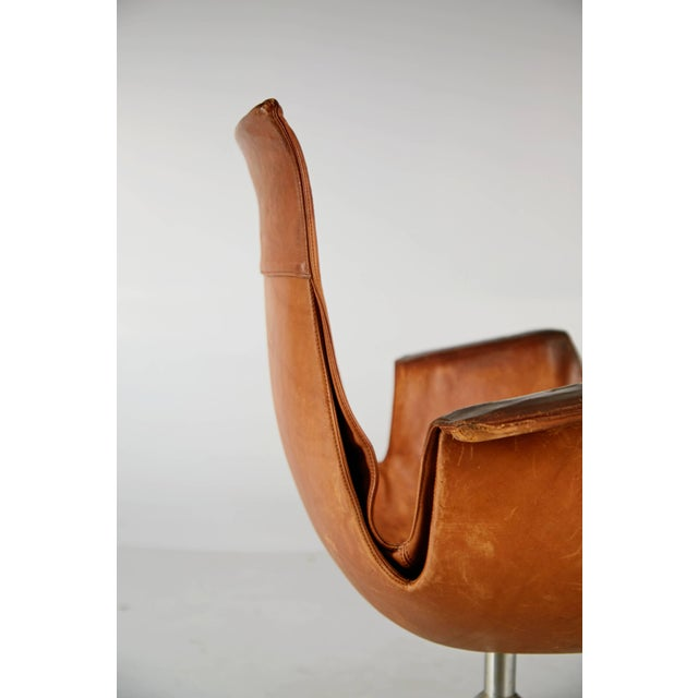 Silver Distressed Leather Bird Chair by Preben Fabricius & Jørgen Kastholm for Alfred Kill For Sale - Image 8 of 10