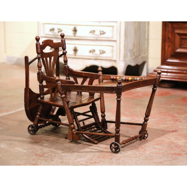 Mid-20th Century French Carved Folding Up and Down Child High Chair on Wheels For Sale - Image 9 of 13