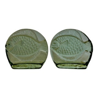 Joel Meyers for Blenko Glass Green Fish Bookends - a Pair For Sale