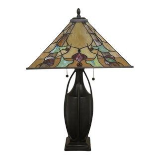 Colorful Quoizel Arts & Crafts Stained Glass Table Lamp For Sale