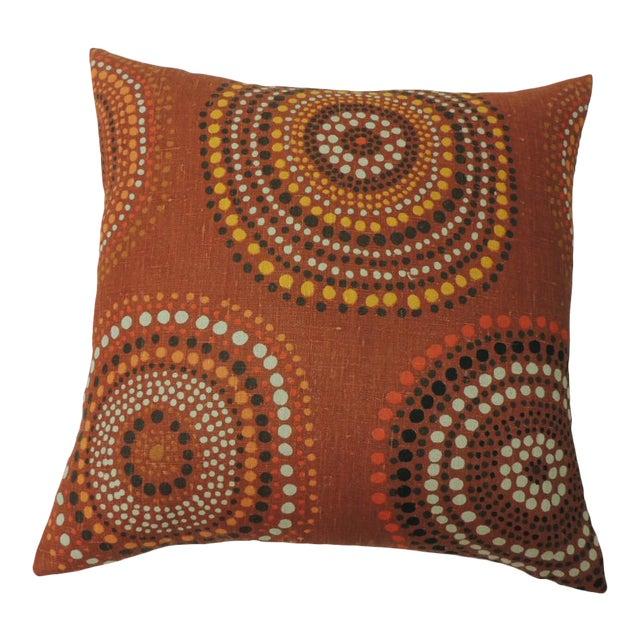 "Modern ""Circles"" Linen Decorative Pillow For Sale"