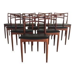 1960s Mid-Century Modern Johannes Andersen Dining Chairs in Teak - Set of 10 For Sale