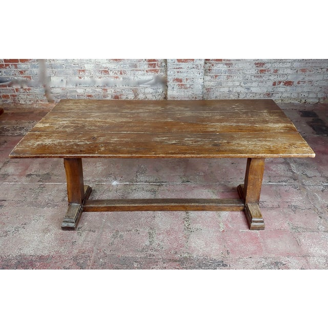 American 19th Century Farmhouse Trestle Dining Oak Table For Sale - Image 3 of 10