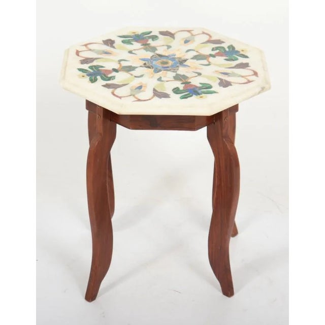 Vintage Hardstone Inlaid Marble Top Octagonal Side Table For Sale - Image 4 of 12