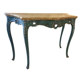 Venetian Polychrome Marble Top Console Table For Sale