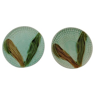 French Majolica Corn Plates - A Pair