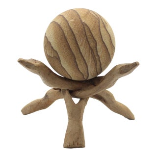 1970s Vintage Australian Natural Sandstone Sphere and Carved Mango Wood Stand - 2 Pieces For Sale