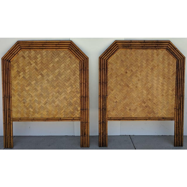 Carved Faux Bamboo Twin Headboards, a Pair - Taiwan For Sale - Image 10 of 10