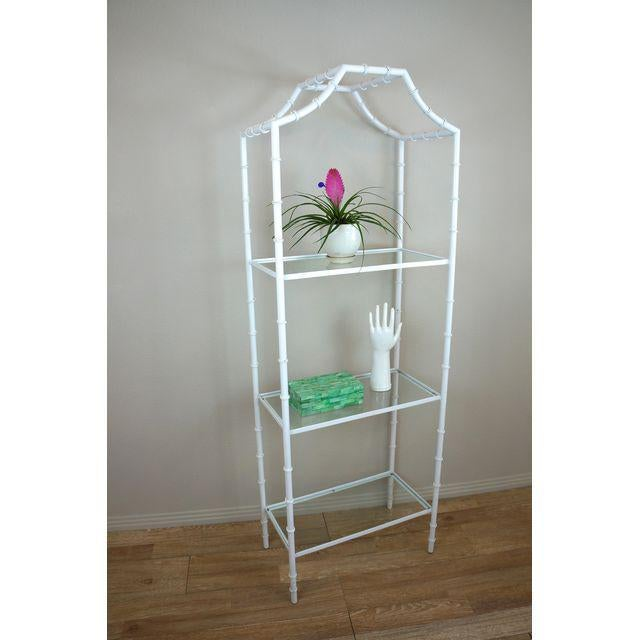 White Faux Bamboo Etagere Shelf For Sale - Image 4 of 8