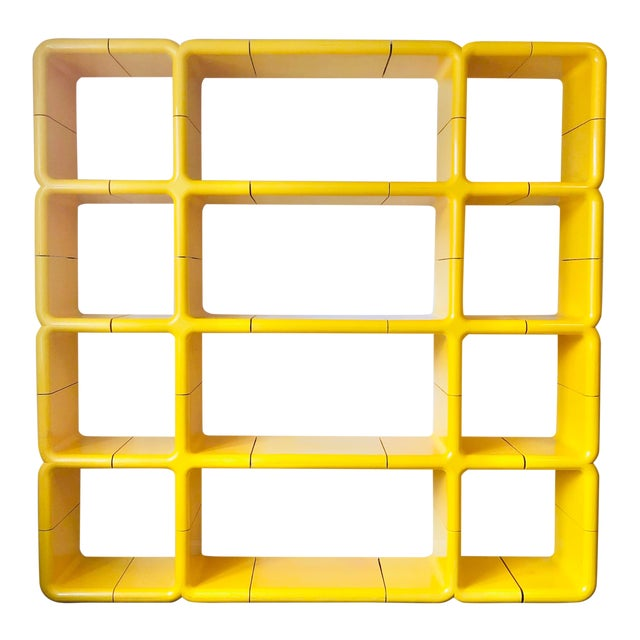 1970s Umbo Yellow Plastic Modular Shelving System - Made of 25 Pieces For Sale