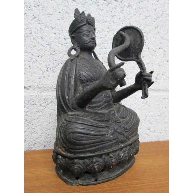 Asian Pair Bronze Buddha Statues For Sale - Image 3 of 10