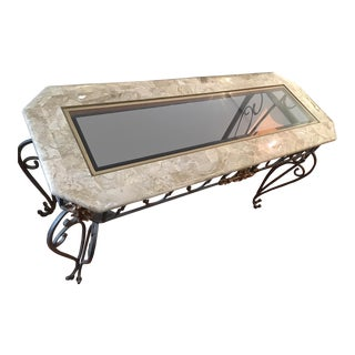 Faux Tessellated Marble Console Table