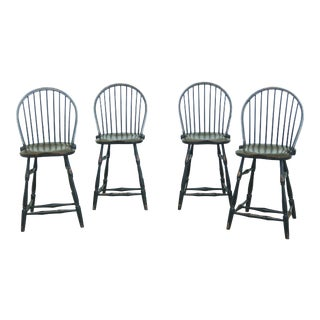 Windsor Style Paint Decorated Rustic Bar Counter Chairs - Set of 4 For Sale