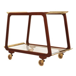 Austrian Mid Century Walnut & Brass Serving Trolley For Sale
