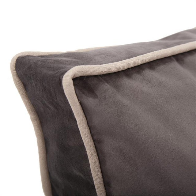 Kenneth Ludwig Chicago Kenneth Ludwig Chicago Gusseted Bella Pewter Velvet Pillow With Contrast Welt For Sale - Image 4 of 7