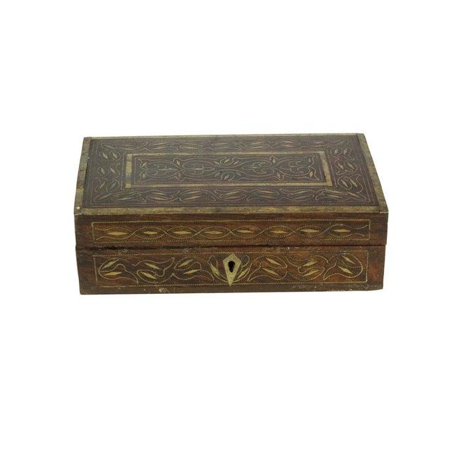 Elegant Brass Inlay Jewelry Box - Image 2 of 4