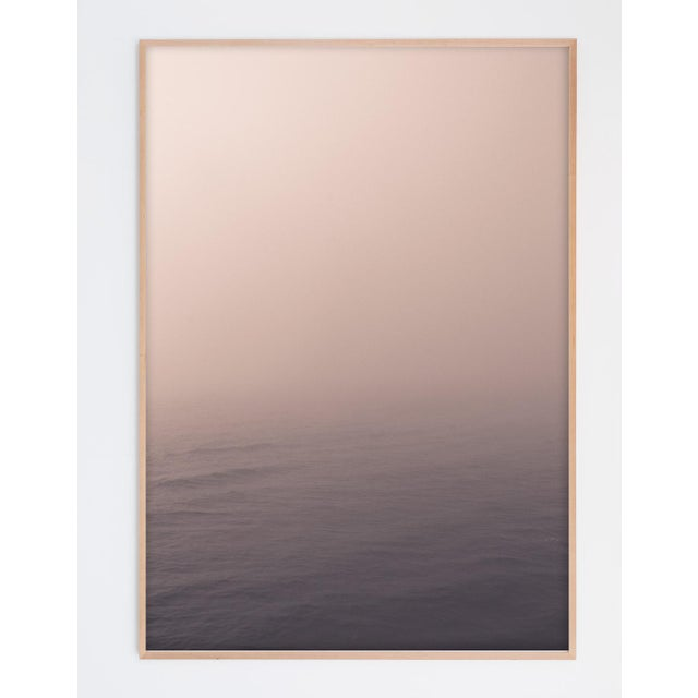 """Abstract Minimal Pale Ocean Photograph in Natural Maple Wood Frame - 32"""" X 48"""" For Sale - Image 3 of 3"""