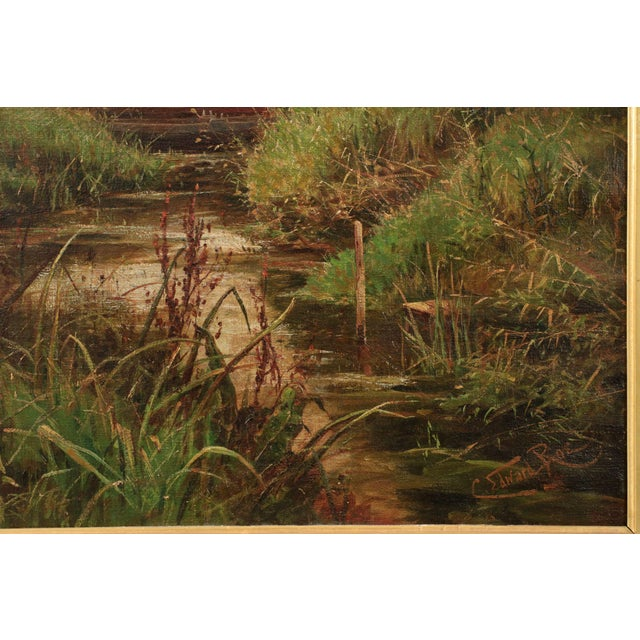 19th Century Landscape Painting of Bridges over Stream by Clarence Roe - Image 2 of 10