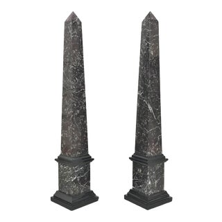 Early 20th Century French Classical Revival Marble Obelisks - a Pair For Sale