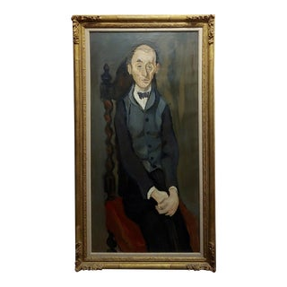 Gabriel Dauchot -The Butler-French Mid Century Modern Oil Painting-1950s For Sale