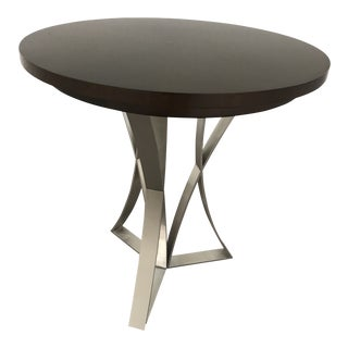 Modern Kravet Metal and Wood Round Side Table For Sale