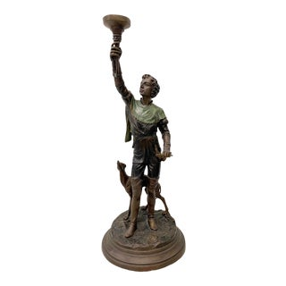 Bronze Sculpture of a Young Man With a Greyhound Converted to Table Lamp by Boschetti For Sale