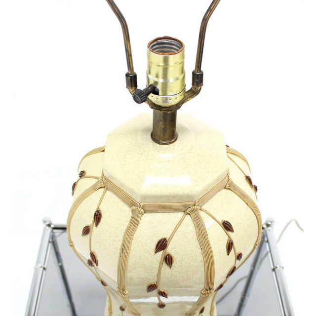 Ceramic Faux Bamboo Motive Art Decorated Mid-Century Modern Lamp For Sale - Image 7 of 7