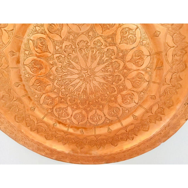 Moroccan Polished Round Metal Copper Tray For Sale - Image 4 of 12
