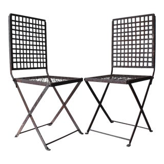 Vintage 1940s Wrought Iron Folding Garden Chairs - a Pair For Sale