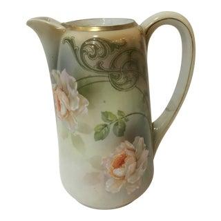 Vintage Rs Germany Tall Porcelain Floral Teapot For Sale