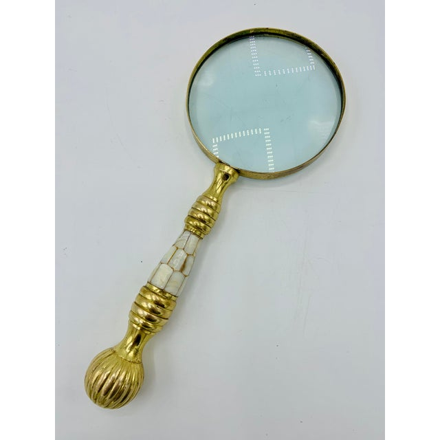 Vintage Brass Magnifying Glass With Mother of Pearl Inlay For Sale - Image 9 of 9