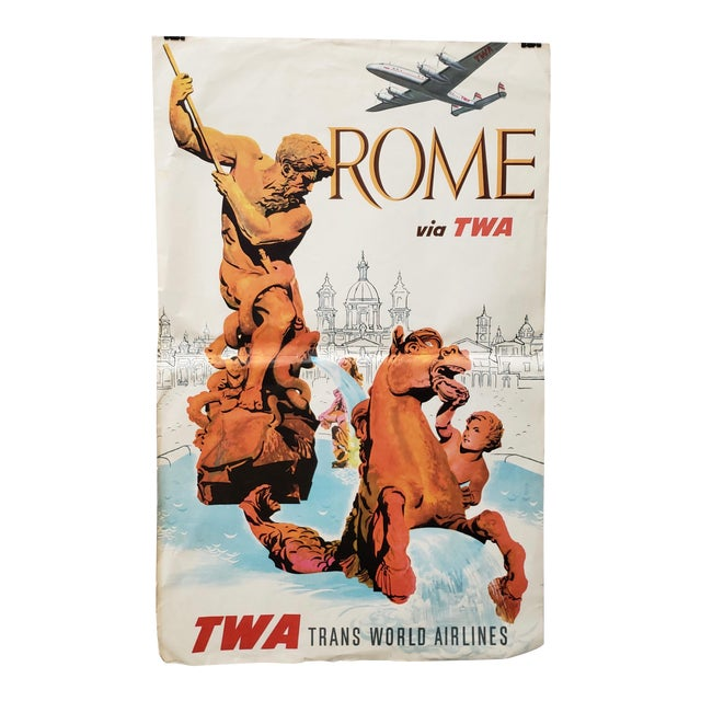 Original Vintage Travel Poster Rome via Twa Trans World Airlines C.1960s For Sale