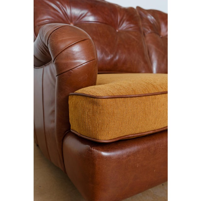 2010s English Rolled Arm Sofa With Genuine Leather For Sale - Image 5 of 10