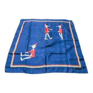 Vintage Pop Art Neiman Marcus Pinocchios Silk Scarf For Sale