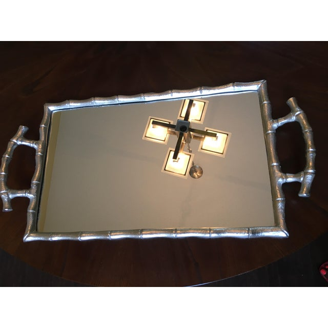 Bamboo Asian Modern Silver Bamboo Mirrored Tray With Handles For Sale - Image 7 of 9