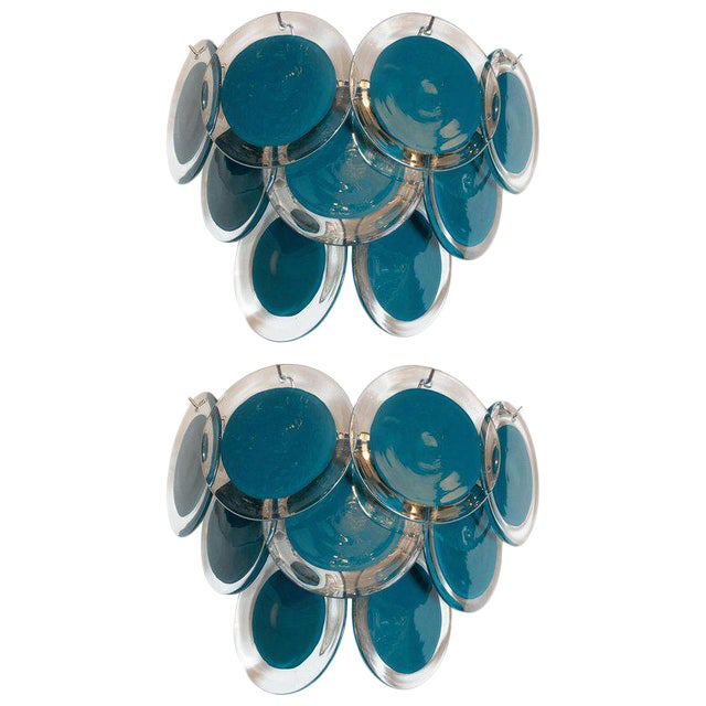 Modernist 9-Disc Hand Blown Murano Turquoise & Translucent Glass Sconces - a Pair For Sale