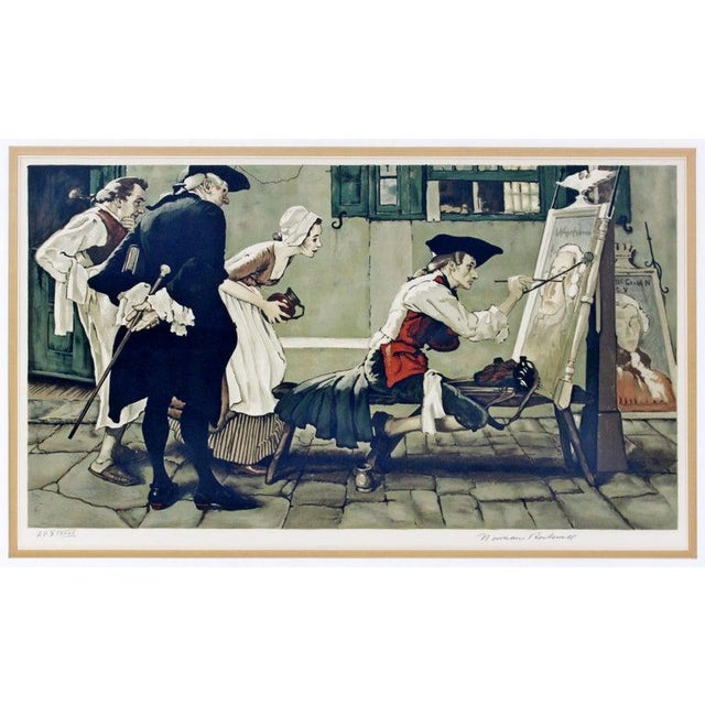 """For your consideration is a framed, A.P. Lithograph of Norman Rockwell's 1936 modern illustration """"New Tavern Sign"""" signed..."""